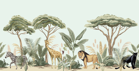 Vintage african tree, banana tree, plant, lion, giraffe, zebra, panther animal floral border blue background. Exotic safari wallpaper.