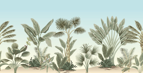 Vintage tropical palm tree, banana tree, plant floral border blue background. Exotic jungle wallpaper.
