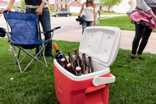 Distanced: Cooler Of Drinks Sits In Middle Of Coronavirus Party