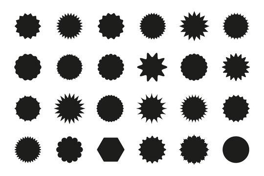 Set of star burst stickers. Vector starburst price tag icon. Set badge shape. Isolated sale promo pricetags. Black badges on white background. Round sun splash in simple design. Wave vignette.