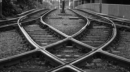 Railroad Tracks At Junction