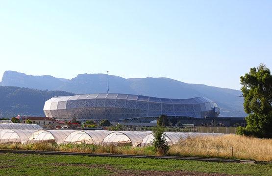 NICE, FRANCE - JUNE 22, 2016: Exterior view of Allianz Riviera Stade de Nice stadium