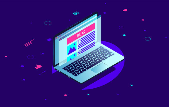 Blogging laptop - Computer with blog on screen in isometric view with brith colours. Blogger, influencer and internet concept. Vector illustration.