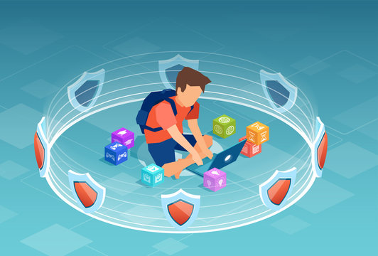 Vector of a boy using laptop computer surrounded by 3d shields, software protection