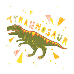 Vector Tyrannosaur Rex isolated on white background. Vector illustration with predatory dinosaur and colorful geometric elements