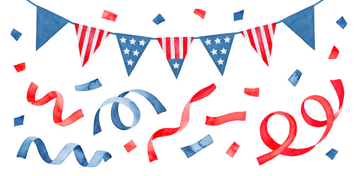 Water color illustration pack with United States flag bunting and red and blue confetti. Hand painted watercolour graphic drawing on white, cut out clipart elements for design, print, card, poster.