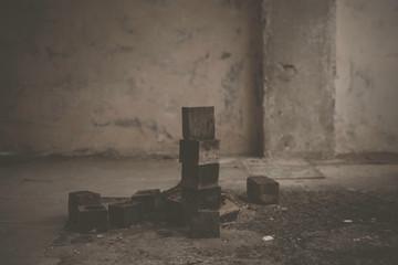 Wooden Blocks On Floor In Abandoned Factory
