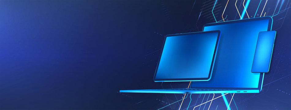 Digital tech concept. Blue gadgets (laptop, tablet and mobile phone). Mockup banner for presentation porting programs and development of cross-platform software. Vector illustration