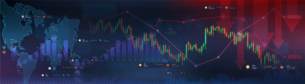 Impending crisis and impact of Covid-19 on the Stock Exchange and the World Economy. Shares fall down. Markets plunging. Economic fallout. Business and finance banner. Vector illustration