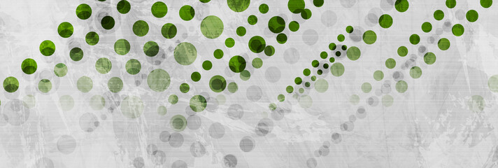 Fotobehang - Green and grey abstract geometric grunge banner with concrete texture. Technology circles vector design