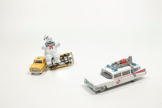 4 may 2020  Figurines of the ghostbusters on the white back ground