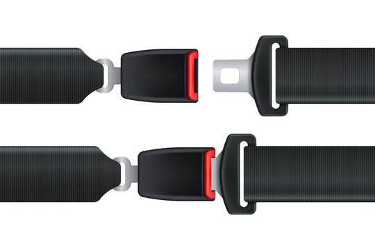 Seat belt. Isolated seatbelt for car or airplane safety concept. Open and closed seat belt vector illustration. Safe drive passenger concept on white background