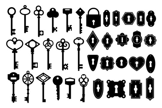 Key silhouette. Vintage key skeleton and keyhole silhouette vector set. Heart shape black key isolated on white background.