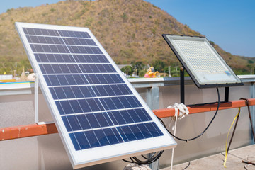 Solar panels generator the industry of modern energy, Ecologically clean sources of electrical energy