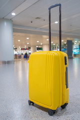 Trolley case, Suitcase or luggage with in airport terminal for air transport and traveling theme