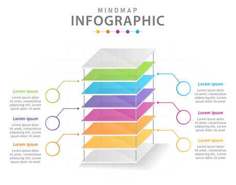 Infographic template for business. 6 Steps Modern Mindmap diagram with layers, presentation vector infographic.