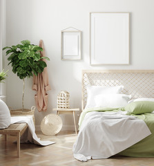 Fotorolgordijn Graffiti collage Scandinavian style white fresh bedroom interior with mockup frames on wall, 3d render