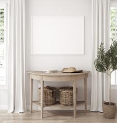 Papiers peints Pierre, Sable Mockup frame in farmhouse living room interior, 3d render