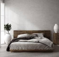 Luxury bedroom interior with minimal decor, loft style, 3d render