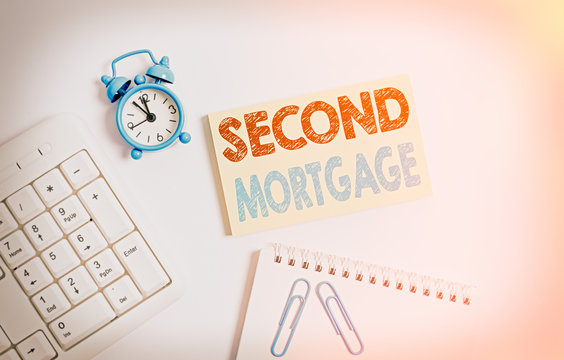 Writing note showing Second Mortgage. Business concept for lien on property which is subordinate to more senior one Keyboard with empty note paper and pencil white background