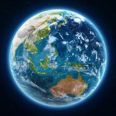 Wall Mural - Planet Earth globe at night