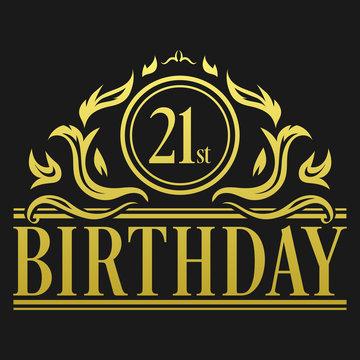 Luxury 21st Birthday Logo illustration vector