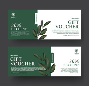 Gift Voucher Template Promotion Sale discount, Minimal green and leaf for Spa luxury hotel resort, Cosmetic texture plant leaf background, vector illustration
