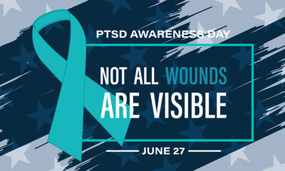 National PTSD Awareness Day. It is acknowledged annually on the 27th of June. Background, poster, card, banner design.