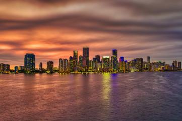 Garden Poster Abu Dhabi Miami Skyline at night sunset. Miami, Florida, USA skyline on Biscayne Bay.