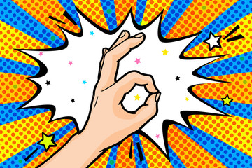 Vector pop art OK mans hand sign in retro comics style, OKAY hand gesture with speech bubble for text
