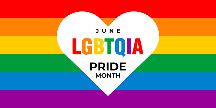 lgbt, lgbtqia pride month. Vector banner, poster for social networks, media. Concept with the LGBT rainbow flag and the text June lgbtqia pride month. Heart-shaped logo design.