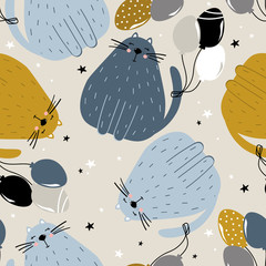 Happy cats, hand drawn backdrop. Colorful seamless pattern with animals, air balloons. Decorative cute wallpaper, good for printing. Overlapping background vector. Design illustration
