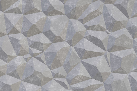 3D Gray stucco, concrete and cement pattern, asymmetric and geometric abstract shapes on textured Background.