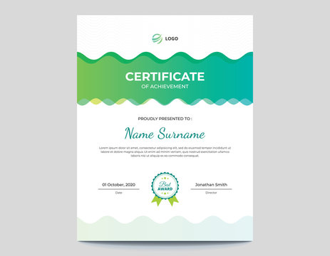 Vertical Abstract Colored Green and Blue Waves Certificate Letter Size 8.5 x 11 with .125 Bleed