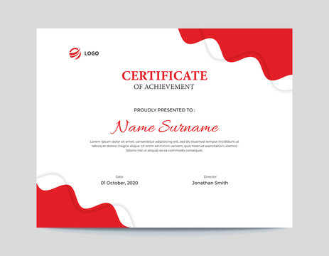 Simple Red Waves with Shadow Certificate Design Letter Size 11 x 8.5 with .125 Bleed