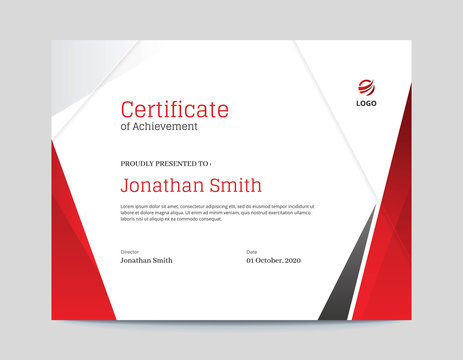 Red and Grey Shapes Certificate Design Letter Size 11 x 8.5 with .125 Bleed
