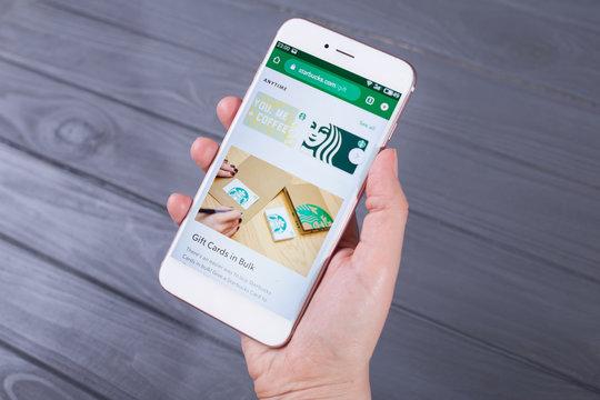 The Starbucks website  on smartphone