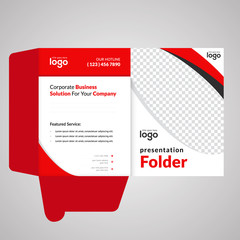 Red Color Bi fold Presentation Folder Vector Design Template.