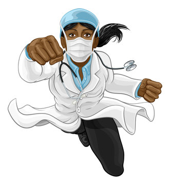 A super hero woman doctor concept. A female medical healthcare professional as a superhero flying through the air. Wearing face mask PPE