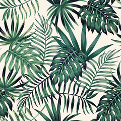 Wall Mural - Exotic tropical leaves seamless pattern white background