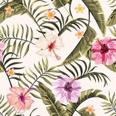 Wall Mural - Seamless tropical wallpaper flowers hawaiian white background