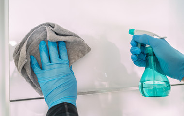 Surface cleaning hygiene Coronavirus disinfection prevention: clean and disinfect high-touch...