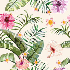 Wall Mural - Tropical vivid flowers leaves seamless background