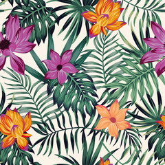 Wall Mural - Vivid flowers tropical leaves seamless pattern white background