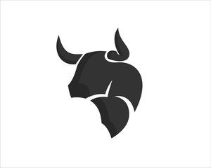 simple Abstract head bull ox cow buffalo black logo design inspiration