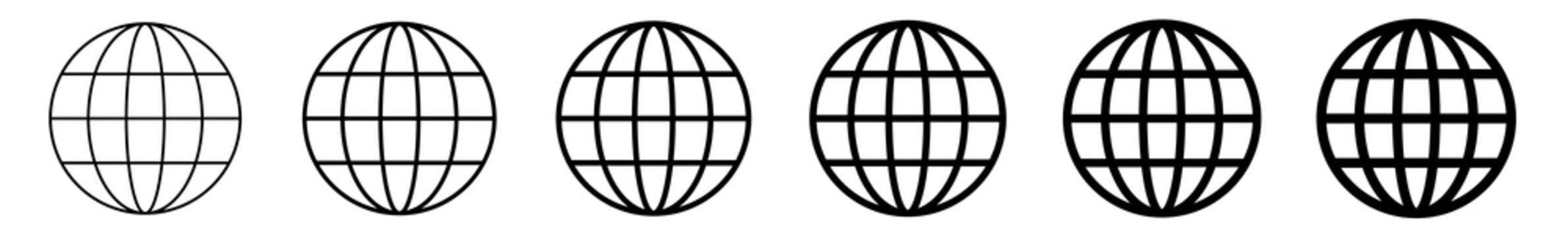 World Icon Black | Earth Illustration | Globe Symbol | Planet Logo | World Wide Web Sign | Isolated | Variations