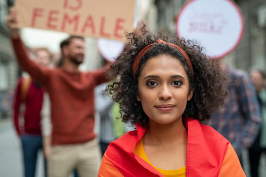 Young multiethnic woman in protest for her rights