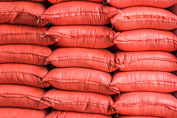 Piles of sacks with agricultural products