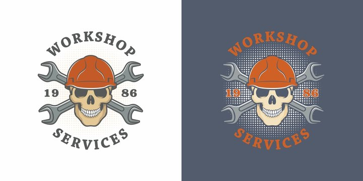 Set of color illustrations skull in helmet and crossed wrenches with text on a colored background. Vector illustration advertises repair shop services. Workshop logo.