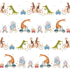 Beautiful vector seamless pattern for children with watercolor hand drawn cute animals on transport. Stock illustration.